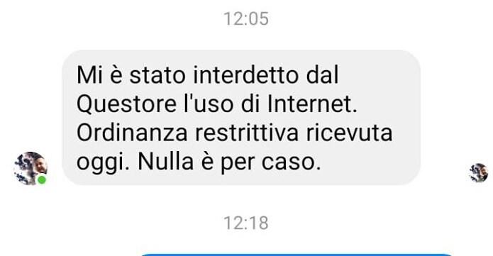 Rosario Marcianò: «Mi è stato interdetto l'uso di internet»