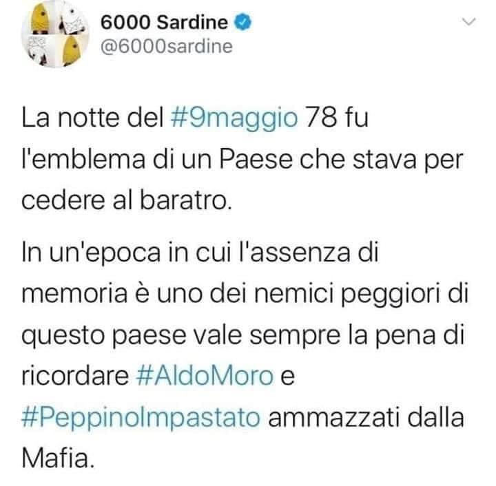 sardine tweet moro impastato mafia