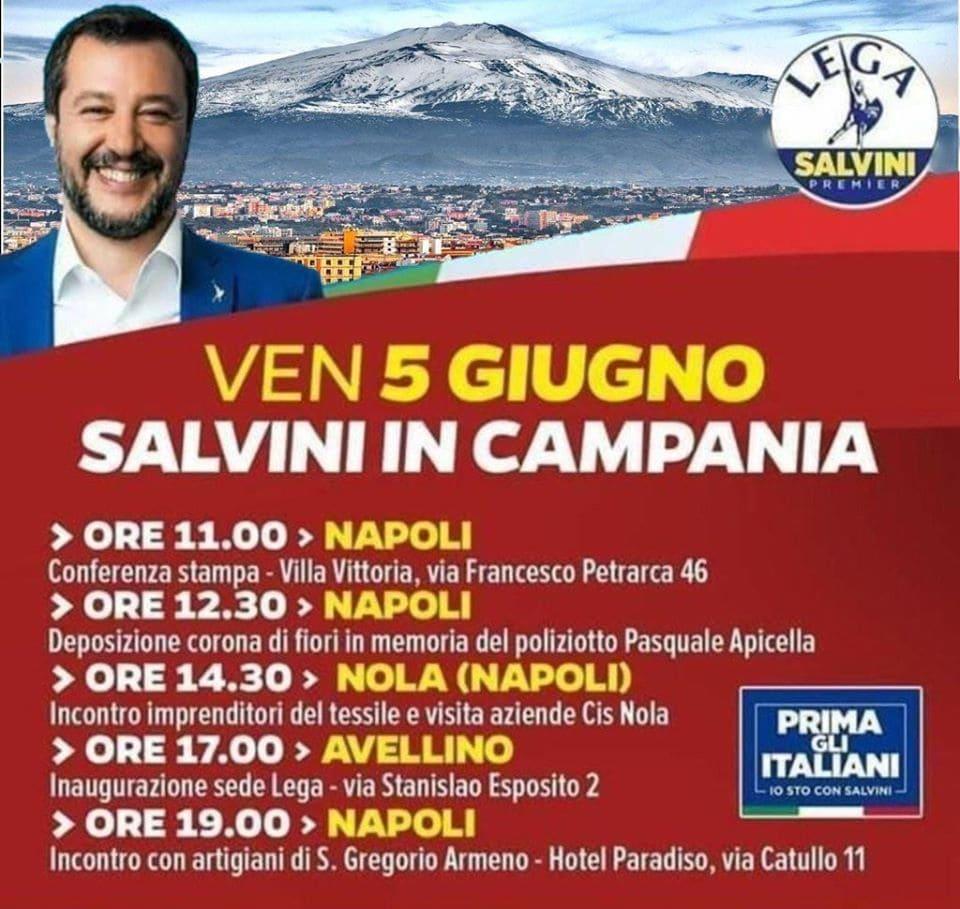 Matteo Salvini e l'Etna in Campania
