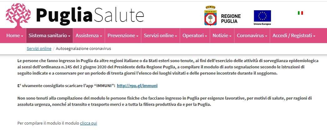 Il modulo di autosegnalazione per chi arriva o torna in Puglia dal 3 ...