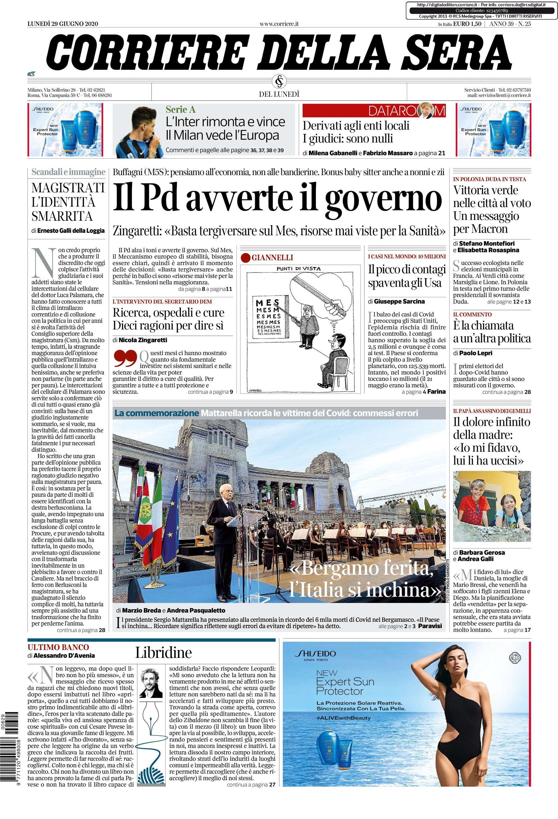 notizie di oggi corriere della sera prima pagina 29 giugno