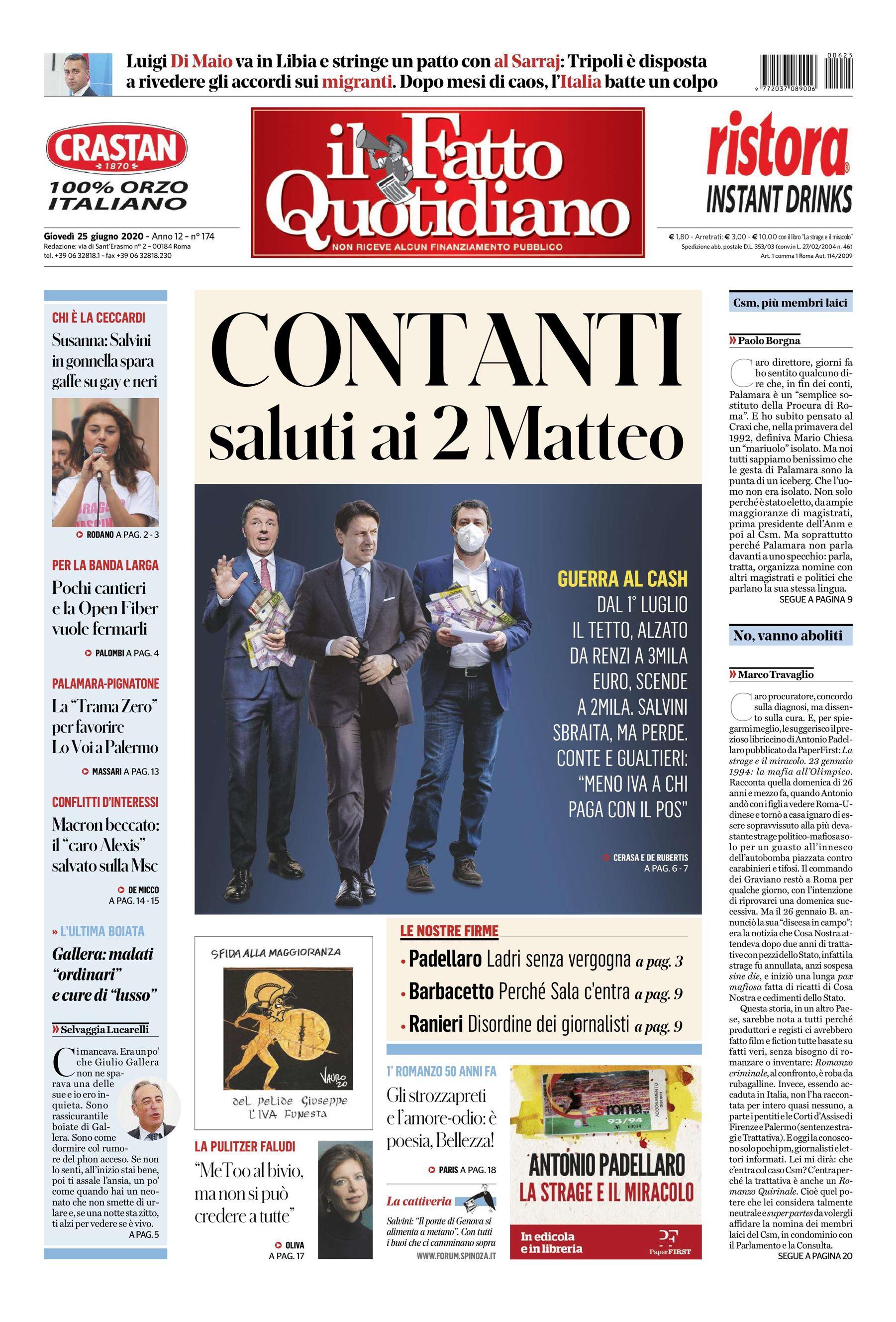 notizie di oggi in prima pagina il Fatto Quotidiano