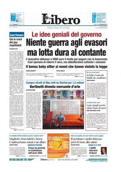 Notizie oggi: la prima pagina di Libero del 30 giugno