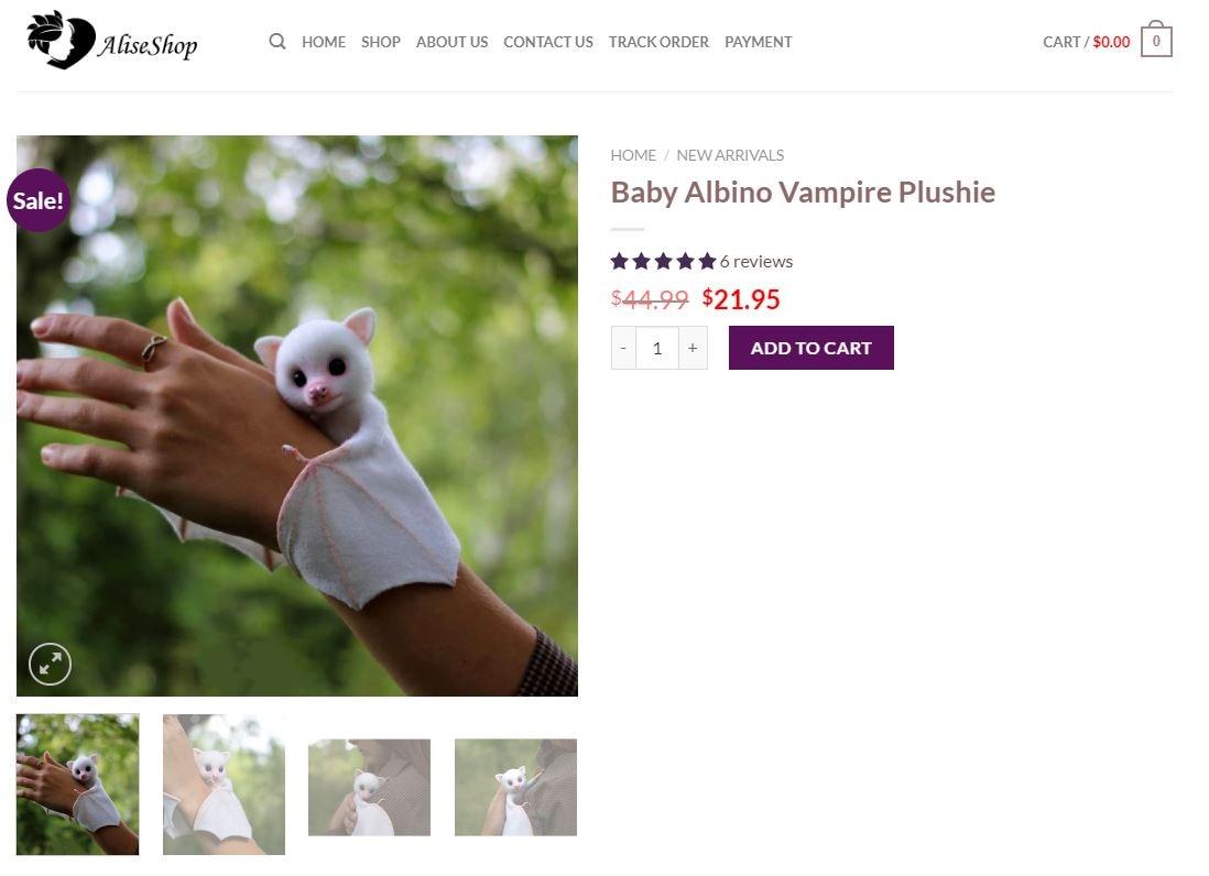 pipistrello albino pelouche