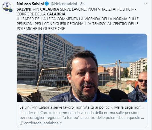 Come Salvini dice no ai vitalizi in Calabria mentre la Lega