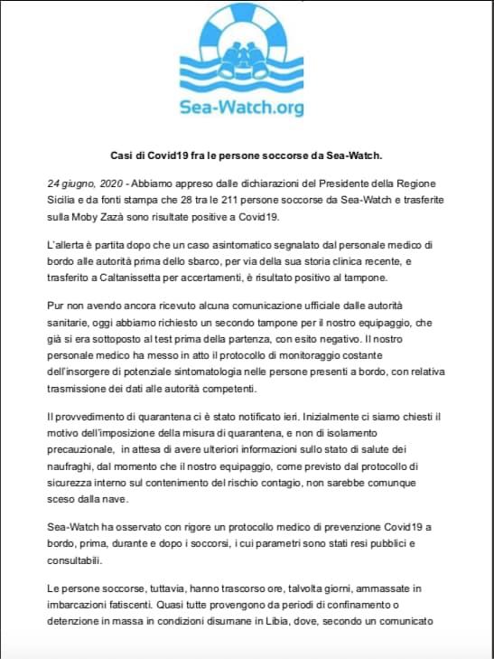 sea watch migranti in quarantena