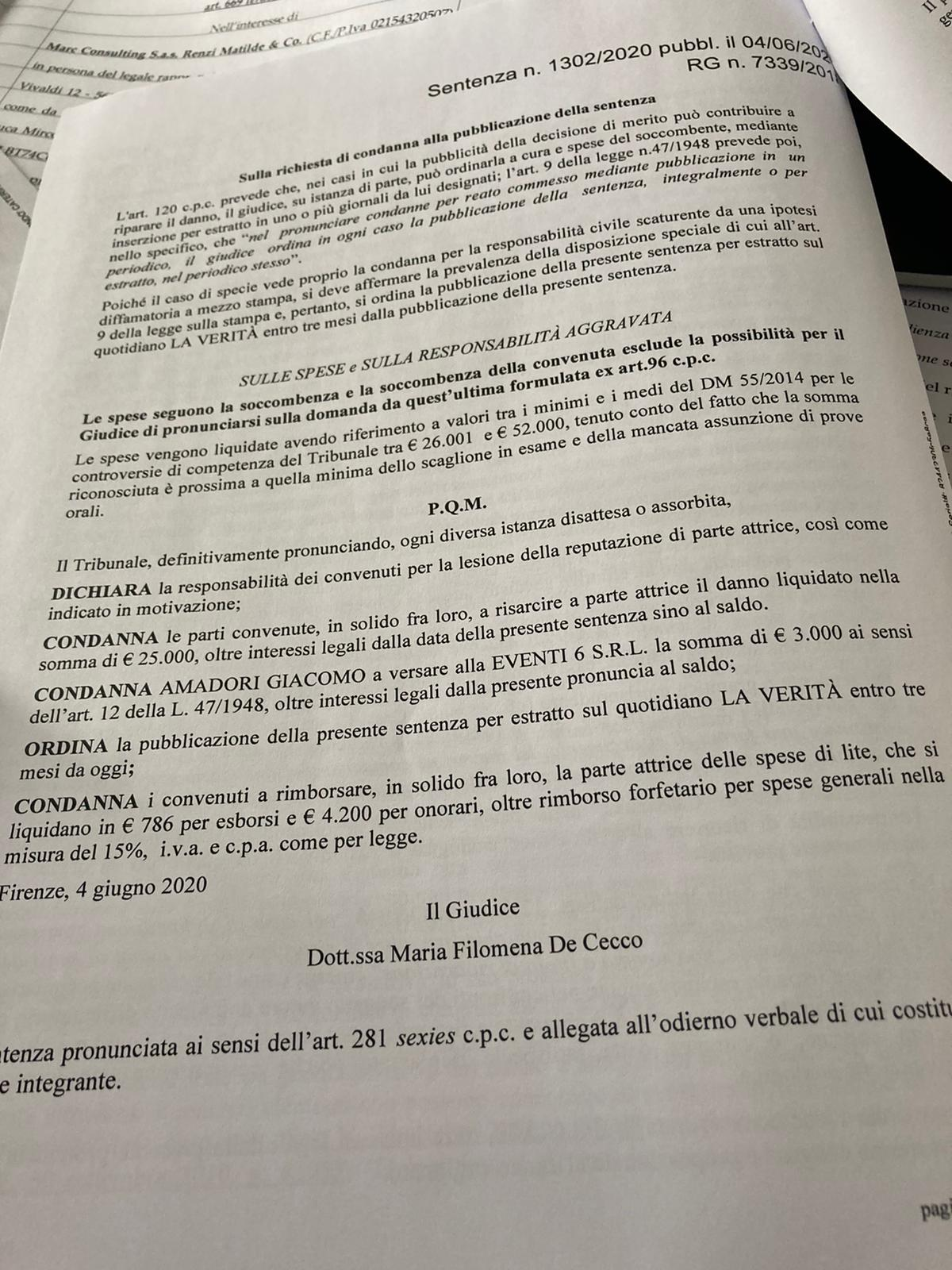 La Verità e Amadori condannati per diffamazione di Tiziano R