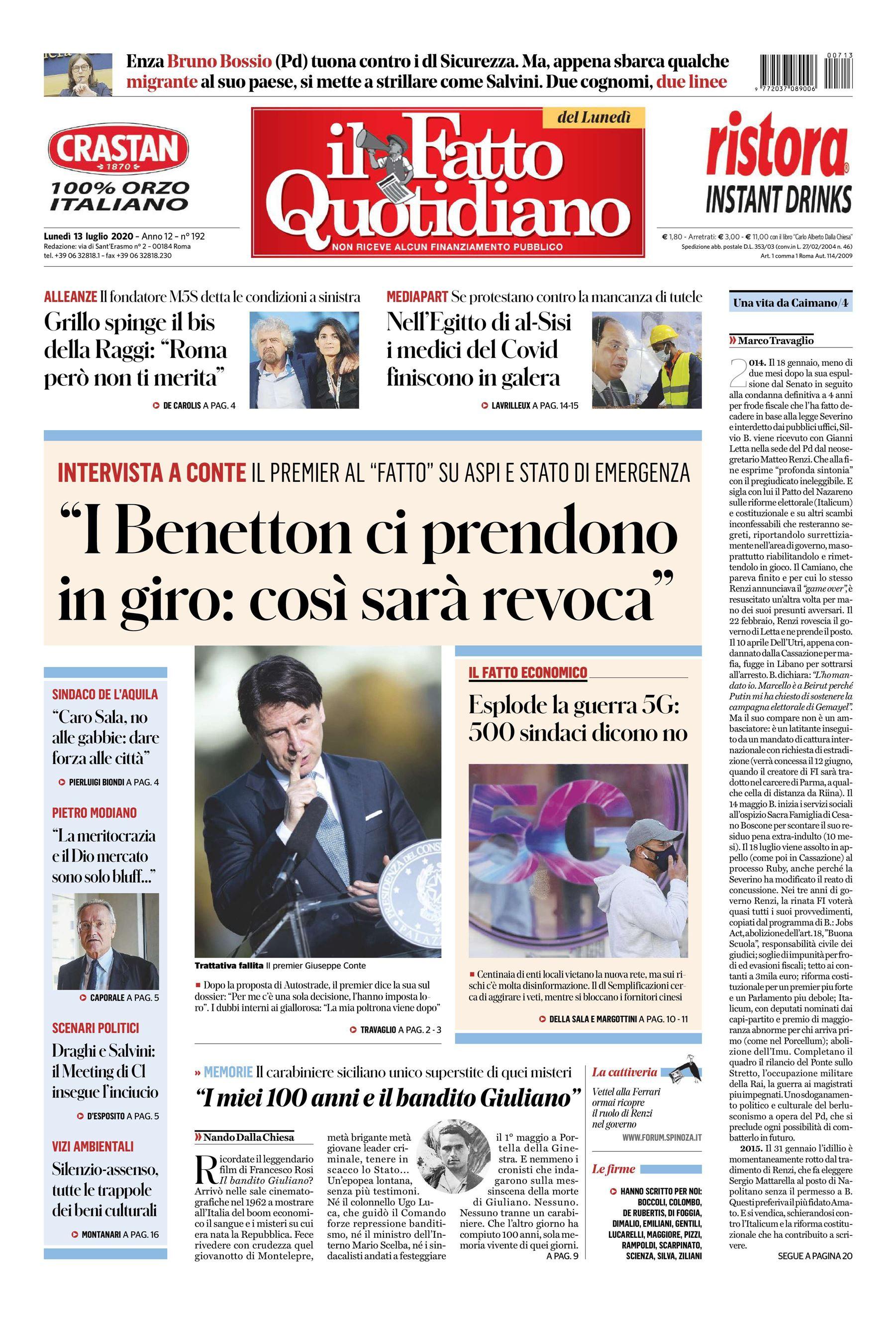 Notizie di oggi: la prima pagina del Fatto Quotidiano di ogg