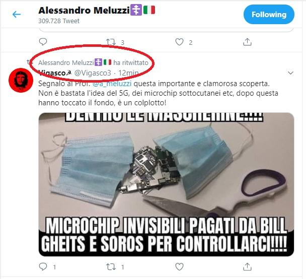 Alessandro Meluzzi e il tweet sul microchip nelle mascherine