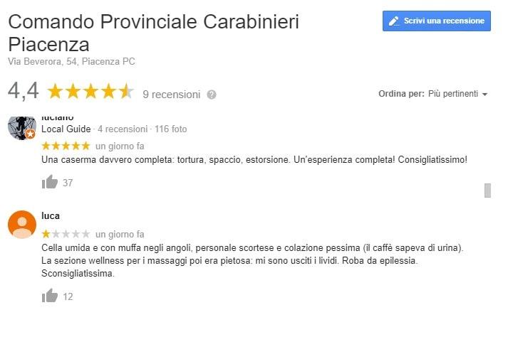 carabinieri piacenza recensioni google 1