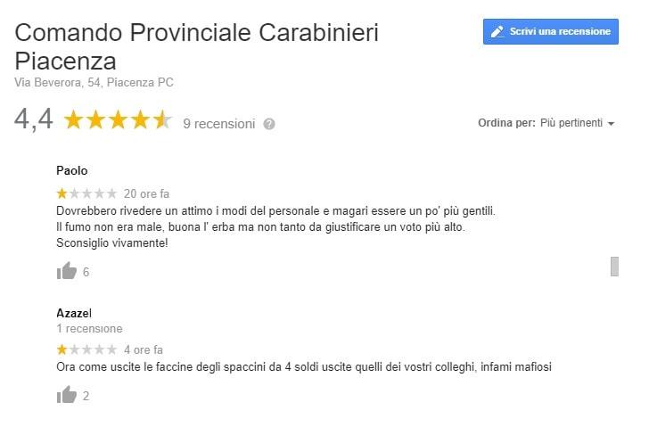 carabinieri piacenza recensioni google 2