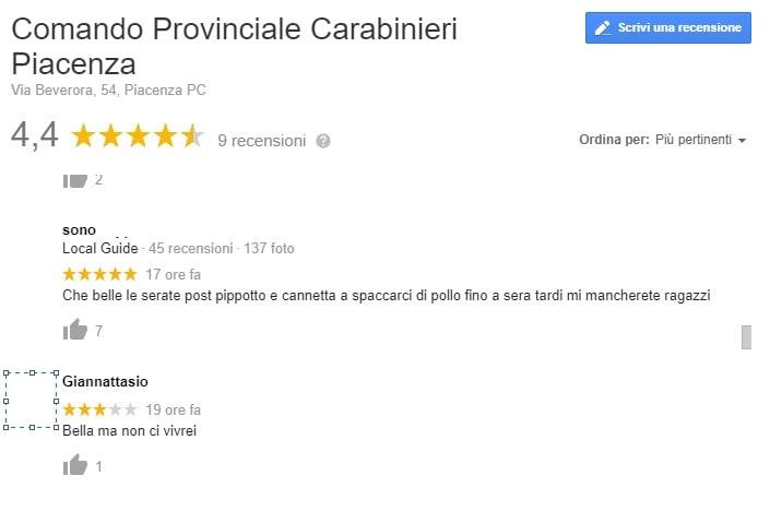 carabinieri piacenza recensioni google 3