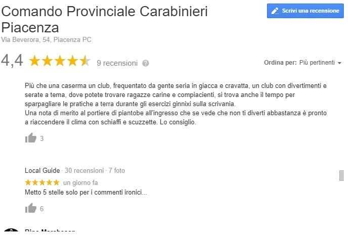 carabinieri piacenza recensioni google 4