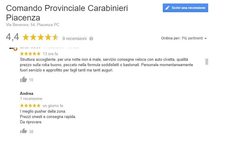 carabinieri piacenza recensioni google
