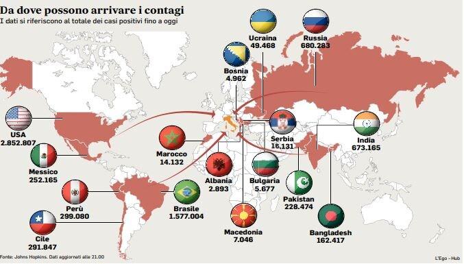 I focolai nel mondo oggi: da dove possono arrivare i contagi