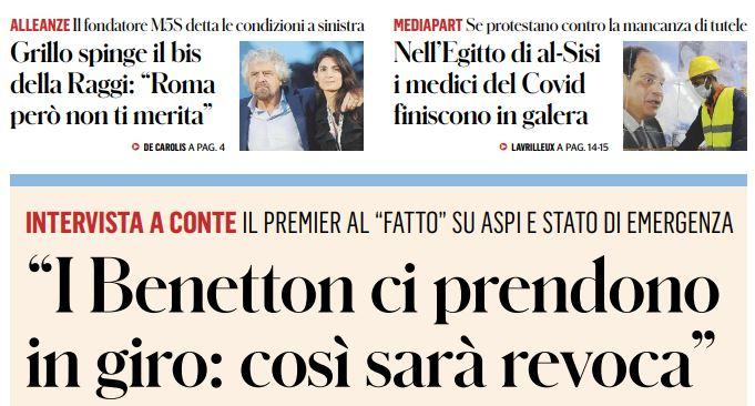 Autostrade: Giuseppe Conte si schiera per la revoca
