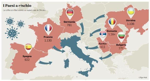 Cartina Italia Spagna.Francia Spagna E Romania La Mappa Dei Paesi A Rischio Covid E Vicini All Italia