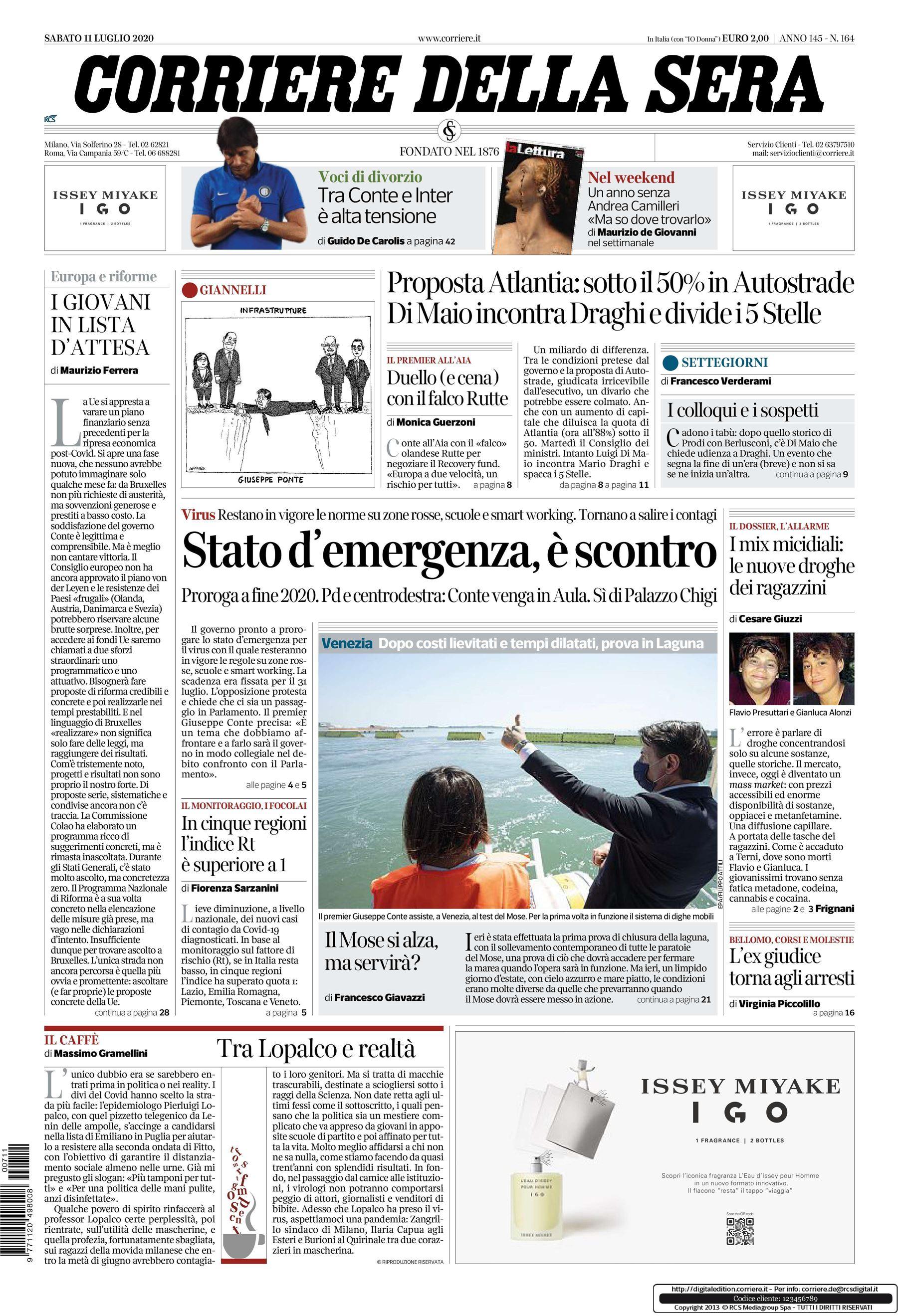 Notizie di oggi: la prima pagina del Corriere della Sera del