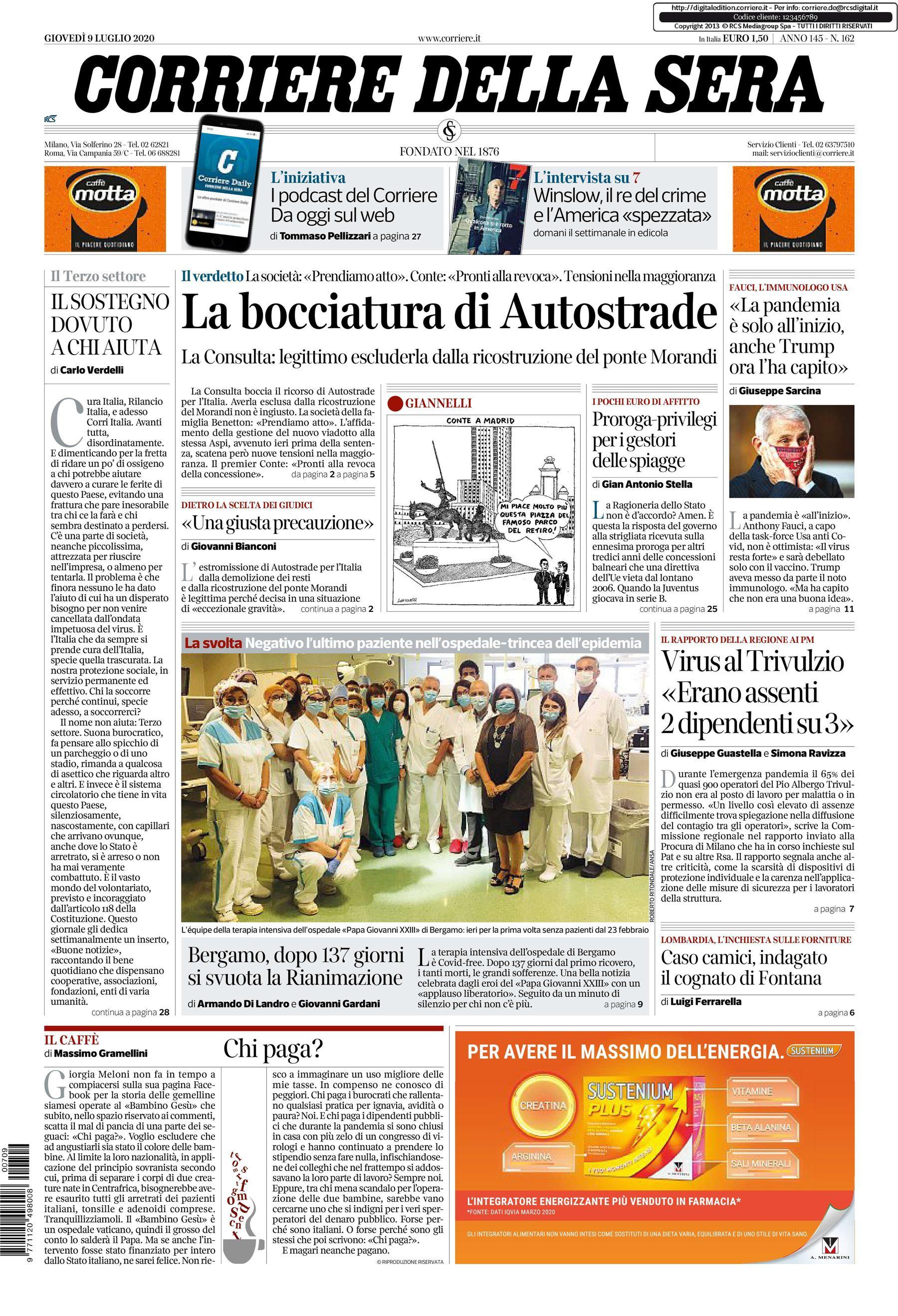 notizie di oggi in prima pagina il corriere della sera 9 luglio 1