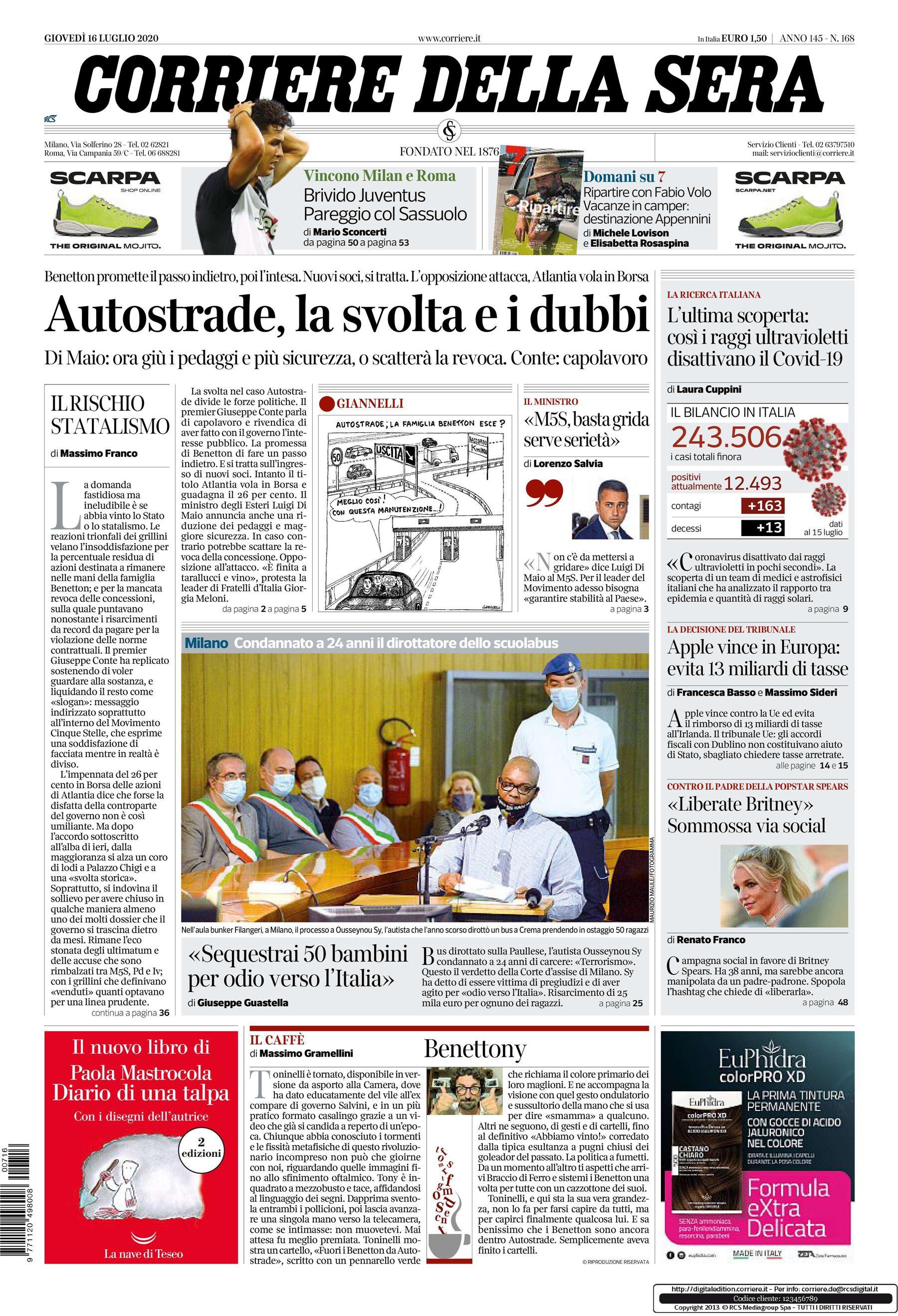 Le notizie di oggi in prima pagina: il Corriere della Sera d