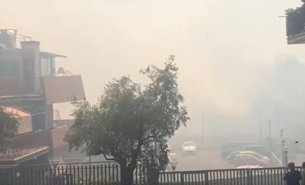 video incendio boccea fumo