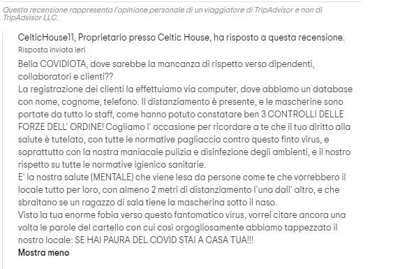 celtic house ristorante negazionista coronavirus magenta 4