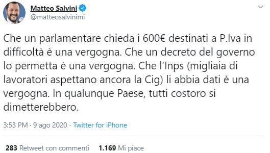 deputato 600 euro partite iva