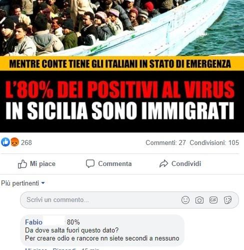 Le fregnacce della Lega sull'80% di positivi al Coronavirus in Sicilia che sono immigrati