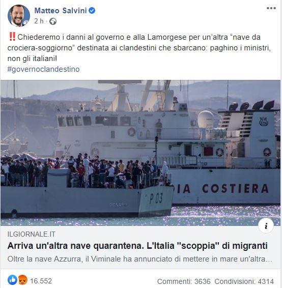 Come la Lega si lamenta per la nave quarantena per i migranti… voluta dal centrodestra in Calabria