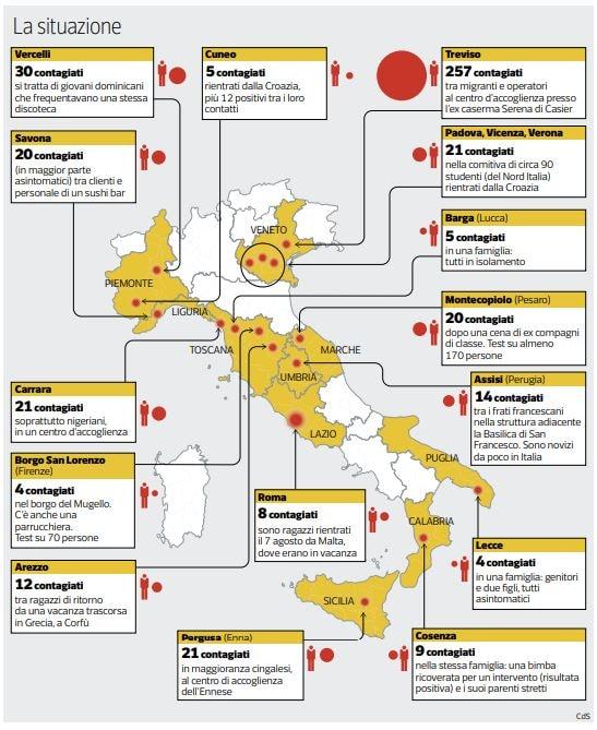 mappa focolai coronavirus italia
