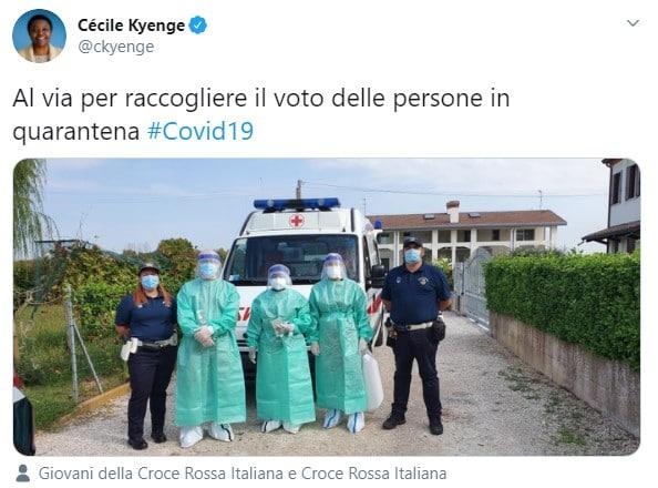 Cécile Kyenge fa votare gli elettori in quarantena Coronavirus