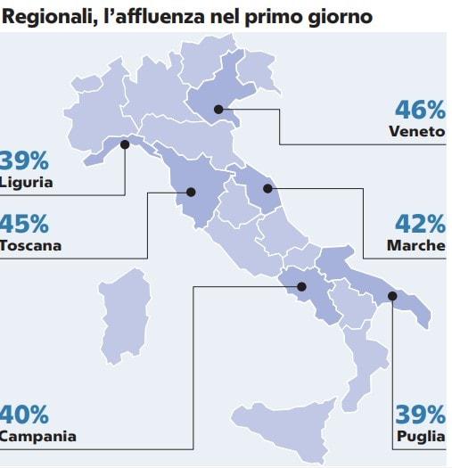 affluenza elezioni regionali primo giorno