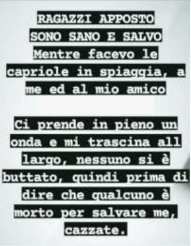 """""""…Prima di dire che qualcuno è morto per salvare me, ca**zate"""": il post su Instagram del ragazzo salvato da Aurelio Visalli"""
