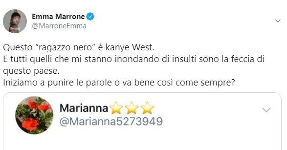 emma marrone cena ragazzo nero kanye west fake news