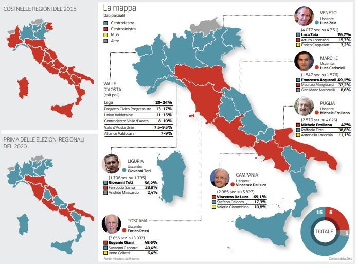 mappa regioni dopo elezioni