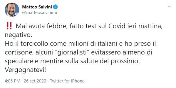 La faccia tosta di Salvini che fa finta di non aver detto di avere la febbre