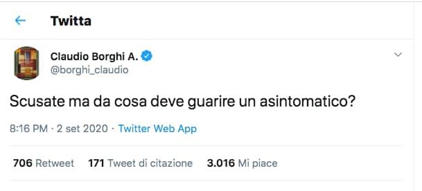 tweet borghi asintomatico
