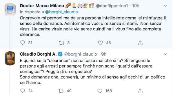 tweet borghi 2 asintomatico