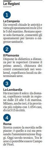 autocertificazione chiusura regioni lombardia campania piemonte liguria
