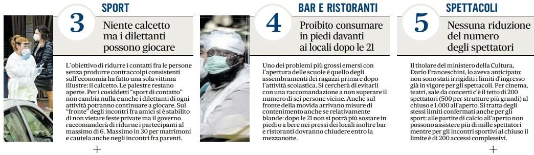 bar locali risotaranti cosa chiude dpcm coronavirus ottobre