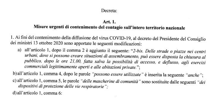 dpcm chiusure piazze dpcm oggi coronavirus 2