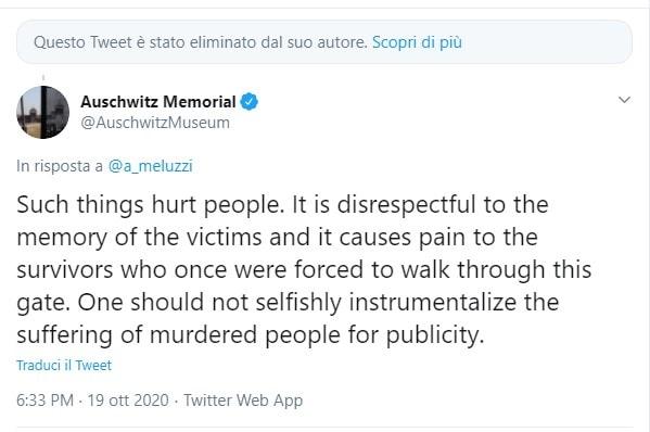 meluzzi andrà tutto bene risposta auschwitz memorial 1