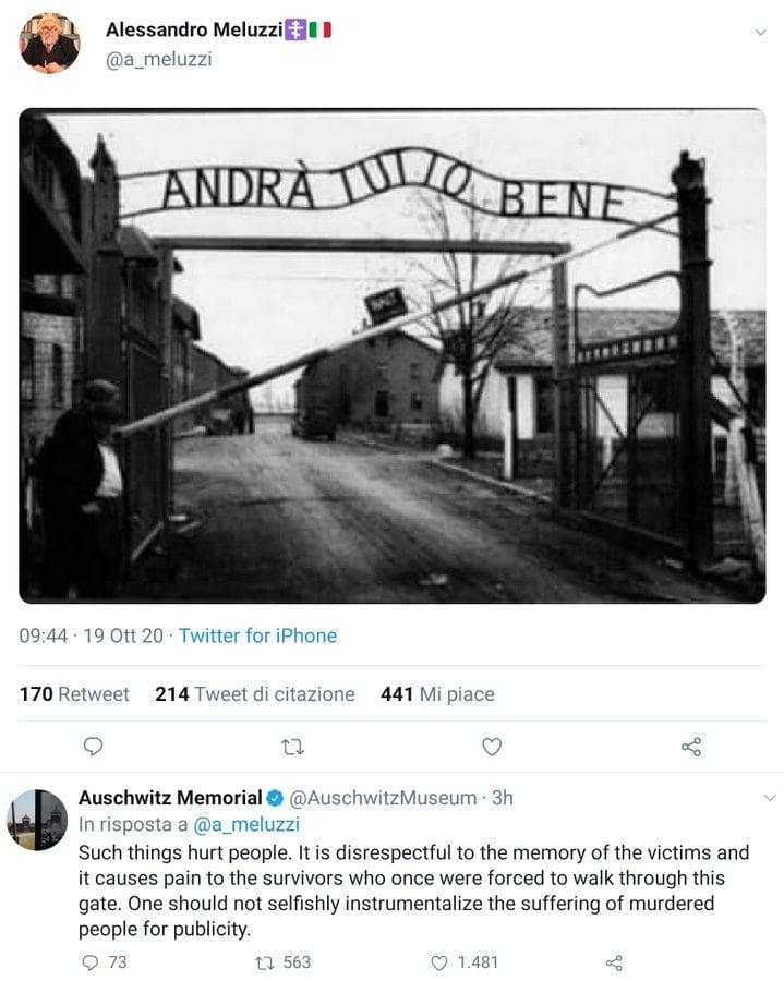 meluzzi andrà tutto bene risposta auschwitz memorial