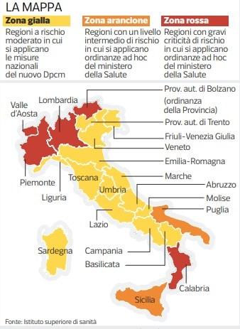 Campania, Liguria Abruzzo e Umbria regioni a rischio zona arancione