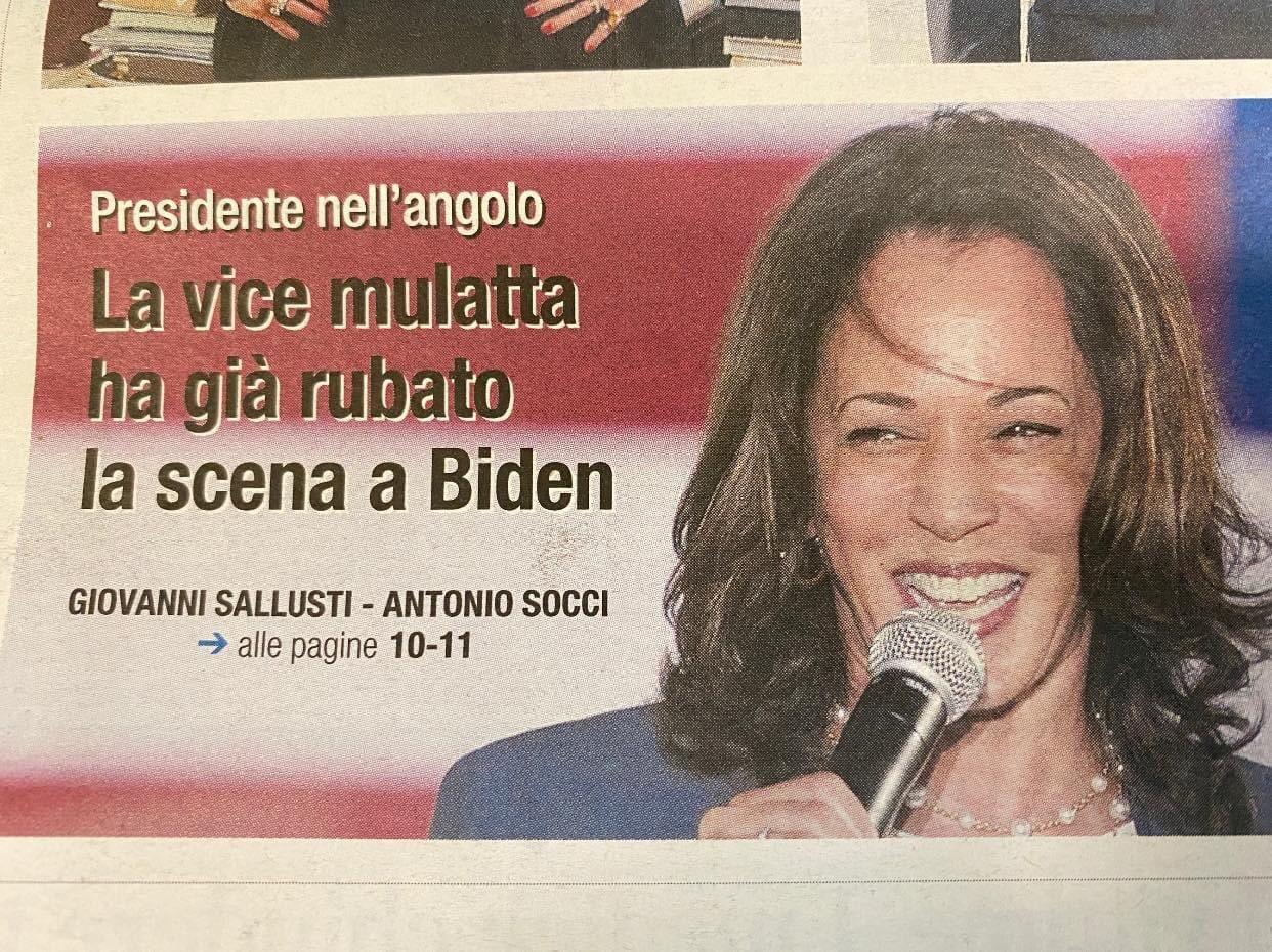giornale kamala harris mulatta