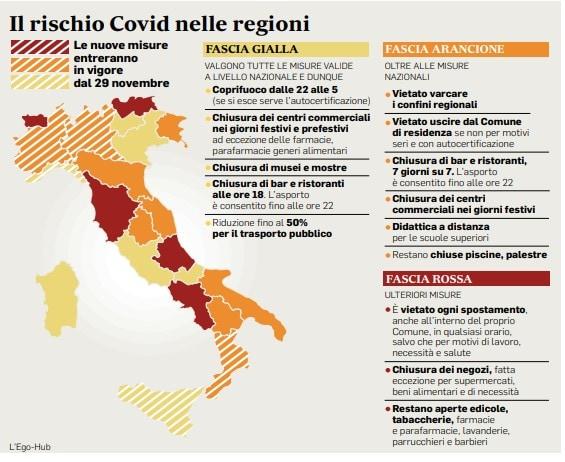 La mappa delle regioni che sono zona arancione, rossa e gialla