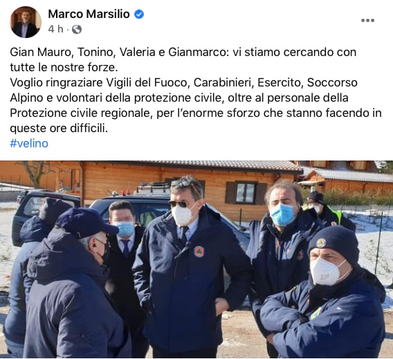 Il dramma dei quattro escursionisti dispersi sul Monte Velino