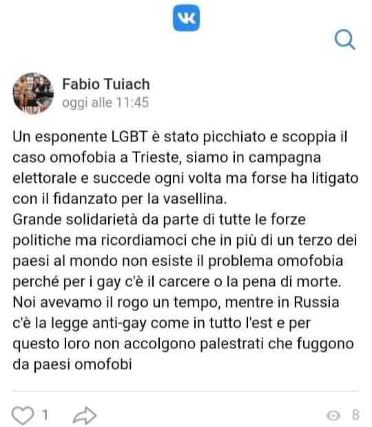 Fabio Tuiach omofobia attivista lgbt picchiato parisi