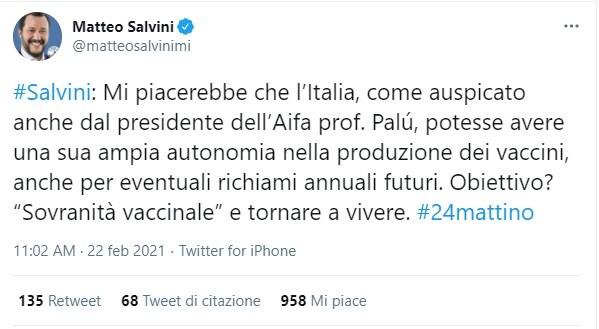 salvini sovranità vaccinale come stanno le cose produzione vaccini italia
