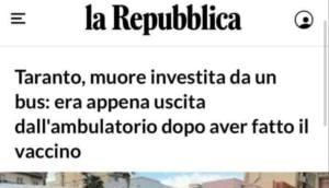 Investita dopo vaccino, La Repubblica